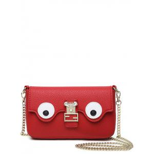 Color Splicing Faux Pearl Magnetic Closure Crossbody Bag - Red - 40