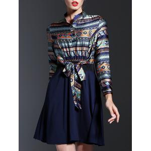 Ethnic Print Spliced Tied-Up Dress