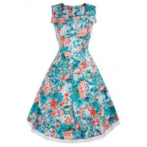 Vintage Style Flower Print Swing Dress