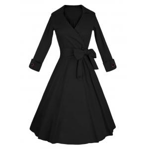 Long Sleeve Wrap Swing Midi Vintage Dress