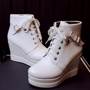 Lace-Up Buckle Wedge Heel Short Boots - White - 39