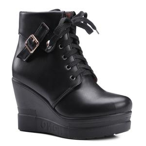 Lace-Up Buckle Wedge Heel Short Boots - Black - 39