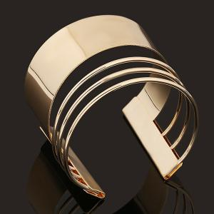 Punk Polished Midi Cuff Bracelet - Golden - One-size