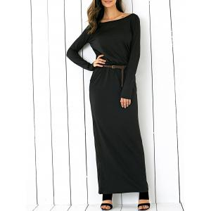 Maxi Boat Neck Elastic Waist Belted Dress