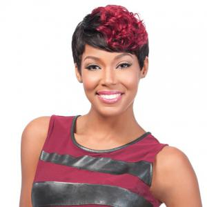 Short Curly Wine Red Highlight Heat Resistant Fiber Wig - Colormix