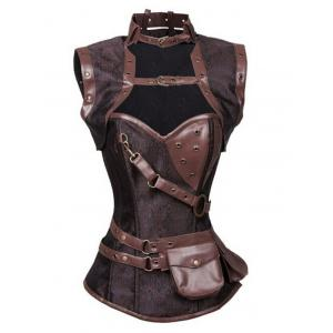 Buckled Pocket Desige Strappy Corset - Light Brown - 6xl