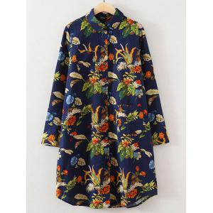 Plus Size Floral Button Down Casual Shirt Dress - Deep Blue - Xl