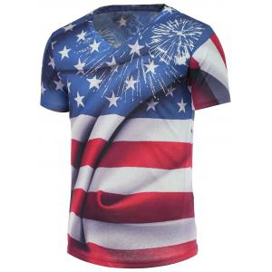 Cotton Blends 3D Eagle Star and Striped Print V-Neck Short Sleeve T-Shirt