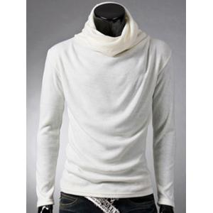 Brief Style High Neck Long Sleeve T-Shirt - White - 2xl