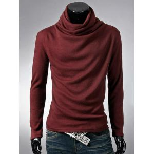 Brief Style High Neck Long Sleeve T-Shirt - Wine Red - L