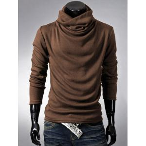 Brief Style High Neck Long Sleeve T-Shirt - Coffee - 2xl