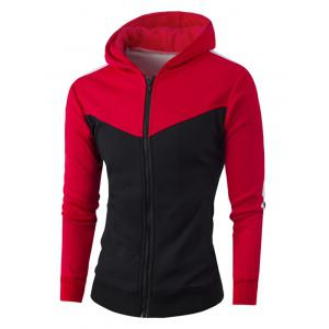 Zipper Up Color Block Striped Hoodie - Red - 4xl