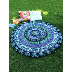 Indian Elephant Paisley Chiffon Round Beach Throw