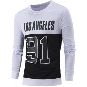 Letter and Number Print Color Block Sweatshirt - White - M