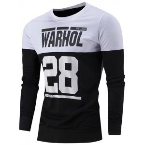 Number and Letter Print Color Block Sweatshirt - White - M