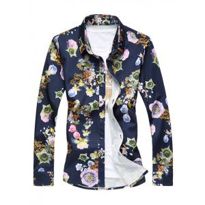 Plus Size 3D Flower Print Turn-Down Collar Long Sleeve Shirt - Colormix - L