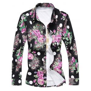Plus Size 3D Roses and Peacock Feathers Print Turn-Down Collar Long Sleeve Shirt