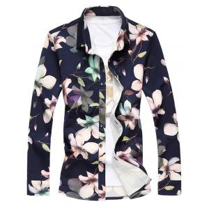 Plus Size 3D Floral Printed Turn-Down Collar Long Sleeve Shirt