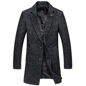 Plus Size Lapel Single-Breasted Cotton Blends Long Sleeve Woolen Coat
