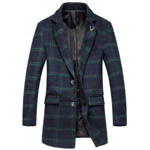 Plus Size Lapel Single-Breasted Tartan Long Sleeve Woolen Coat - Green - 3xl