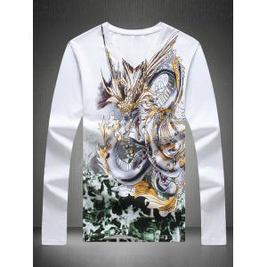 V-Neck Rhinestone Embellished Dragon Printed T-Shirt