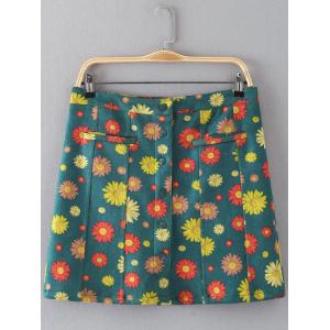 Floral Print Button Design Faux Suede Skirt - Green - L
