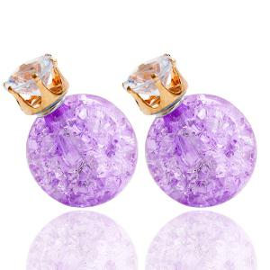 Pair of Rhinestone Candy Color Balls Earrings - Light Purple - W16 Inch * L47 Inch
