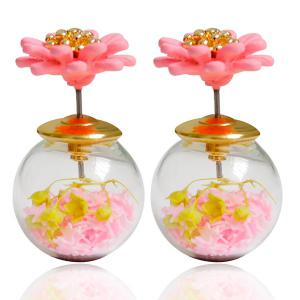 Pair of Enamel Flower Glass Ball Double end Earrings - Light Pink - W16 Inch * L47 Inch