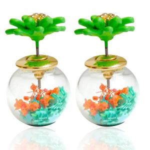 Pair of Enamel Flower Glass Ball Double end Earrings - Green