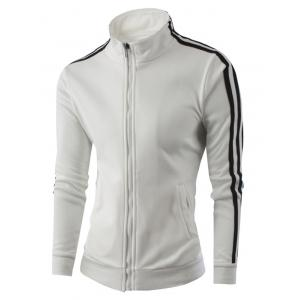 Stand Collar Zipper-Up Side Striped Jacket