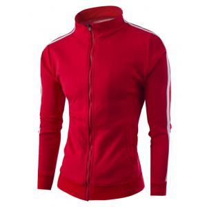Stand Collar Zipper-Up Side Striped Jacket - Red - M