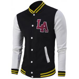 Letter Pattern Rib Spliced Color Block Baseball Jacket - Black - M