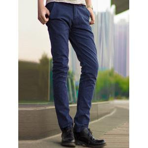 Zipper Fly Pocket Design Slim Fit Pants