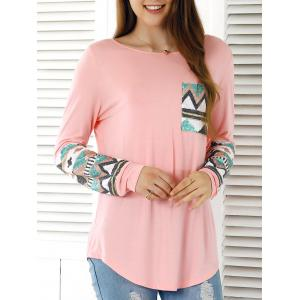 Sequined Embellished Single Pocket T-Shirt