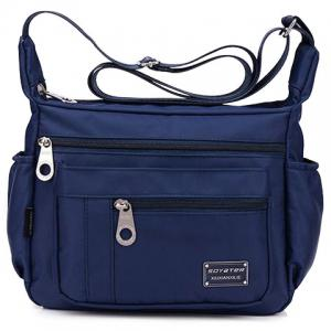 Leisure Zippers and Nylon Design Shoulder Bag For Women - Deep Blue - 40