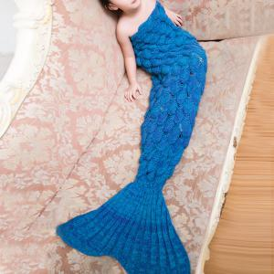 Comfortable Knitted Warmth Mermaid Blanket For Kids - Lake Blue - M