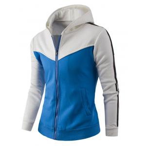 Zipper Up Color Block Striped Hoodie - WHITE 3XL