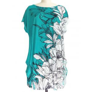 Short Sleeve Casual Floral Print Loose-Fitting T-Shirt - White And Green - One Size