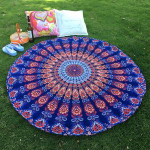 Mandala Feather Totem Chiffon Round Beach Throw - Deep Blue - One Size