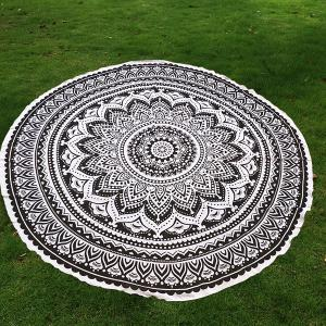 Mandala Lotus Flower Chiffon Round Beach Throw - Black - One Size