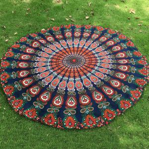 Mandala Feather Chiffon Round Beach Throw - Purplish Blue - One Size