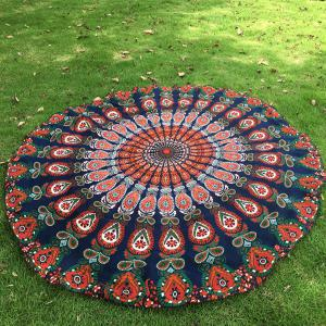 Mandala Feather de plage en mousseline ronde Throw -