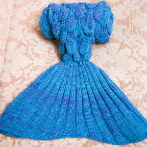 Comfortable Knitted Warmth Mermaid Blanket For Kids - LAKE BLUE
