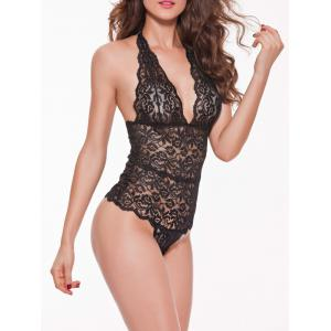 Plunge Halter Lace See-Through Backless Slimming Teddy -