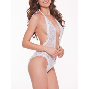 Low Cut Halter See Through Backless Sheer Lace Teddy -