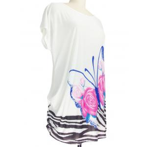 3D Floral Print Loose-Fitting Butterfly Pattern T-Shirt -