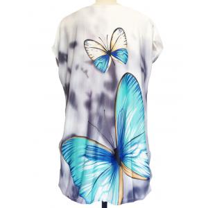 3D Butterfly Print Loose-Fitting T-Shirt - GRAY ONE SIZE
