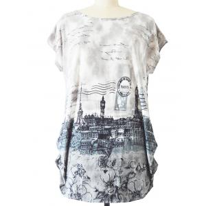 Long Ruched Loose-Fitting Stamp Print T-Shirt