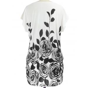 Abstract Floral Print Ruched Loose-Fitting Casual T-Shirt - BLACK ONE SIZE
