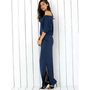 Pocket Side Slit Casual Fitted Maxi Dress - PURPLISH BLUE S